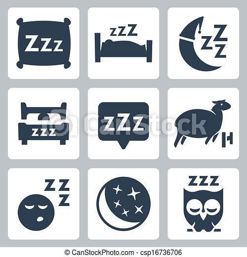 El vector aisló iconos del sueño: almohada, cama, luna, oveja, búho, zzz - csp16736706