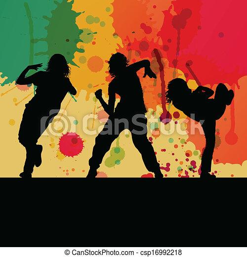Chica de baile silueta, concepto de vector de fondo - csp16992218