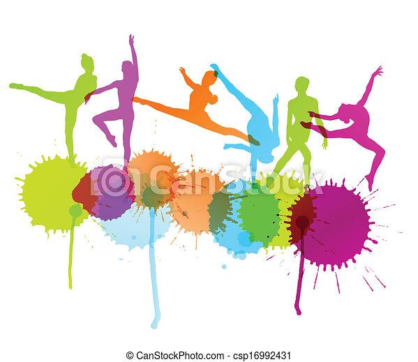 Los bailarines siluetan el concepto abstracto del pasado - csp16992431
