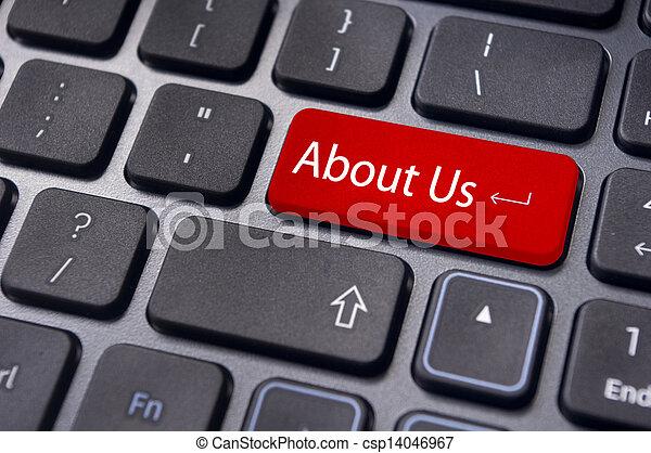 Sobre nosotros concepto, mensaje en el teclado - csp14046967