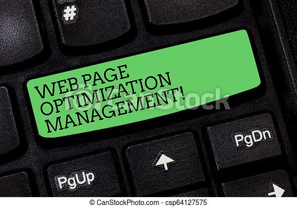 Escribir palabras en la página web de la administración de optimización. El concepto de negocios para el contenido de la web de marketing analizando la clave de Keyboard para crear un mensaje de computadora presionando la idea del teclado. - csp64127575