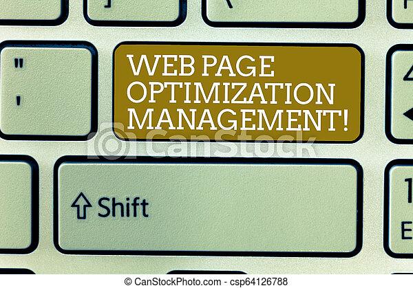 Escribir palabras en la página web de la administración de optimización. El concepto de negocios para el contenido de la web de marketing analizando la clave de Keyboard para crear un mensaje informático, una idea apremiante. - csp64126788