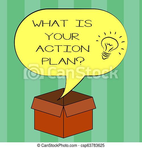 Escribiendo textos escribiendo cuál es tu planificación de acción. Concept significa explicar sus pasos para llegar a su ícono idea de meta dentro de la burbuja de habla de la mitad del uno en una caja de cartón abierta. - csp63783625