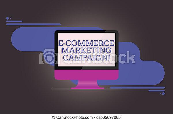 Escribiendo textos escribiendo la campaña de marketing de comercio E. Concepto el significado de la conciencia de conducción de la marca a pesar de que en línea monitor de computadora en blanco refleja la pantalla en el fondo abstracto. - csp65697065