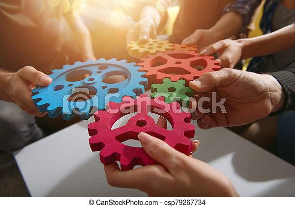 concepto, trabajo en equipo, gears., pedazos, conectar, sociedad, integración, equipo, empresa / negocio - csp79267734