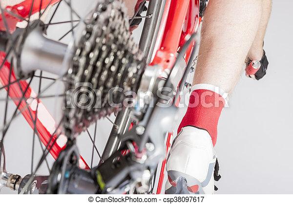 concepts., cycling, been, atleet, back, cassette, derailleur, inline, overzicht., sportende, sprokets., achterk bezichtiging - csp38097617