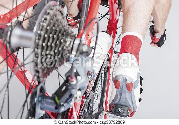 concepts., cycling, been, atleet, back, cassette, derailleur, inline, overzicht., sportende, sprokets., achterk bezichtiging - csp38732869