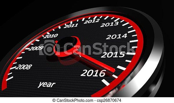 Conceptual 2016 year speedometer - csp26870674