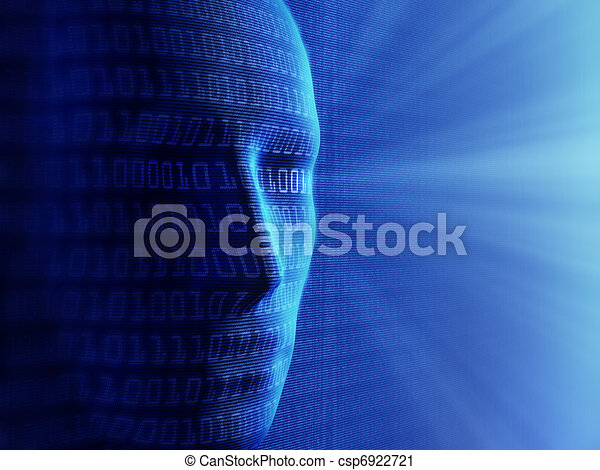 Conceptual background- Artificial intelligence / humans and cyber-business (detailed with millions of small binary code) - csp6922721