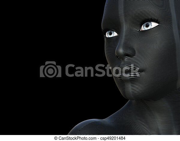 Conceptual Beautiful Caucazian Young Woman With A Creative Futuristic Mask Or Body Paint On Her Face Sexy White And Blue Eyes Isolated On Black