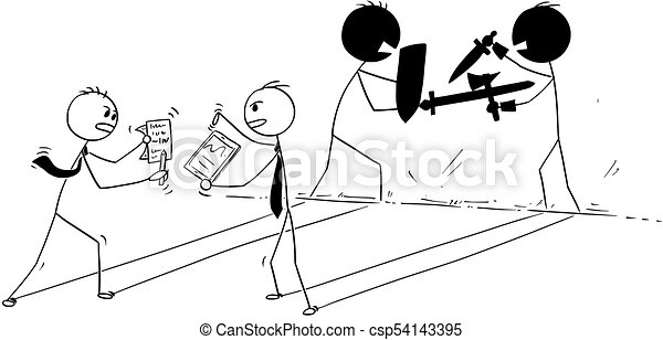 Conceptual Cartoon Of Two Businessmen Arguing Or Fighting Cartoon