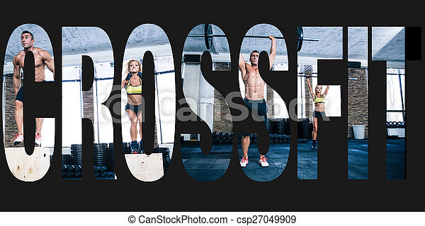 conceptual collage of sports photos in the form of the word crossfit