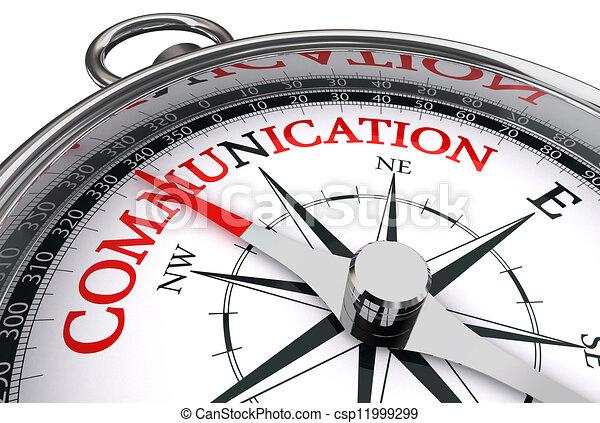 Comunicación palabra roja sobre brújula conceptual - csp11999299