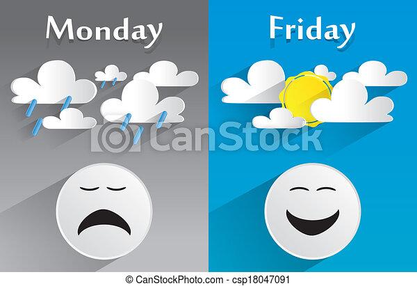 Conceptual Feeling Monday to Friday - csp18047091