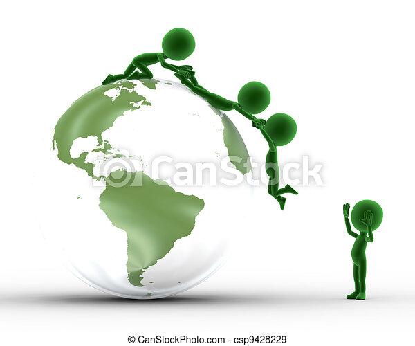 El globo terrestre y la gente conceptual juntos - csp9428229