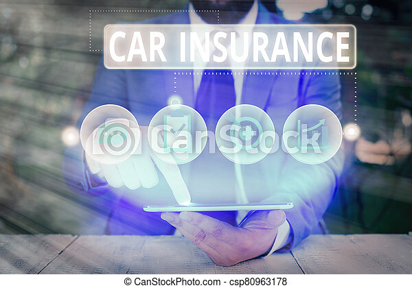 Conceptual hand writing showing Car Insurance. Business photo text Accidents coverage Comprehensive Policy Motor Vehicle Guaranty. - csp80963178