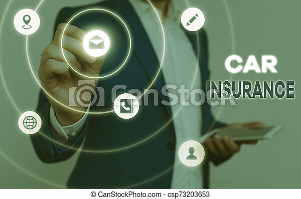 Conceptual hand writing showing Car Insurance. Business photo text Accidents coverage Comprehensive Policy Motor Vehicle Guaranty. - csp73203653