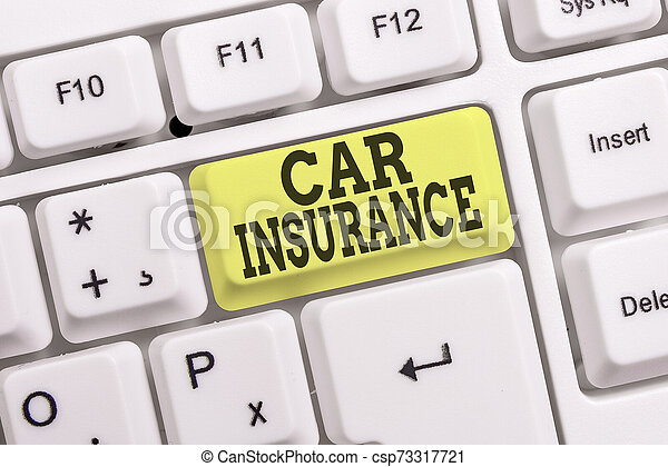Conceptual hand writing showing Car Insurance. Business photo text Accidents coverage Comprehensive Policy Motor Vehicle Guaranty White pc keyboard with note paper above the white background. - csp73317721