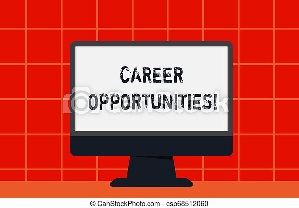 Conceptual hand writing showing Career Opportunities. Business photo text a chance or situation of having a job employment Desktop Computer Colorful Monitor Screen Freestanding Table. - csp68512060