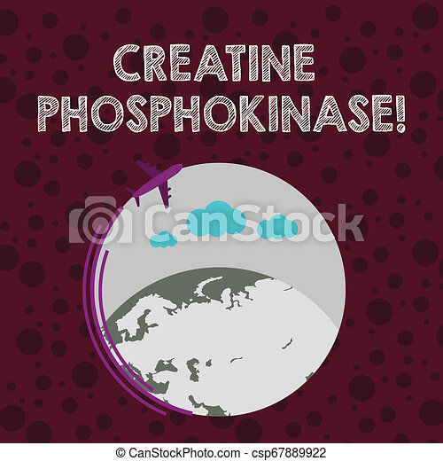 Conceptual hand writing showing Creatine Phosphokinase. Business photo text protein that aids chemical changes in the body Airplane Flying Around Colorful Globe and Blank Text Space. - csp67889922