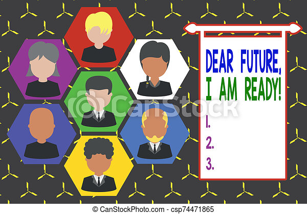 Conceptual hand writing showing Dear Future I Am Ready. Business photo showcasing Confident to move ahead or to face the future Picture frames CEO and staff Organization employee structure. - csp74471865