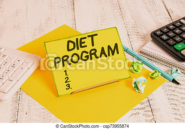 Conceptual hand writing showing Diet Program. Business photo text practice of eating food in a regulated and supervised fashion. - csp73955874