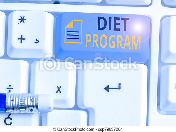 Conceptual hand writing showing Diet Program. Business photo showcasing practice of eating food in a regulated and supervised fashion. - csp79037204