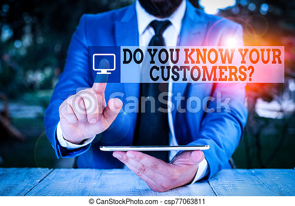 Conceptual hand writing showing Do You Know Your Customers question. Business photo showcasing asking to identify a customer s is nature Businessman with pointing finger in front of him. - csp77063811