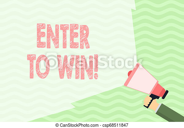 Conceptual hand writing showing Enter To Win. Business photo showcasing exchanging something value for prize chance winning prize Hand Holding Megaphone with Beam Extending the Volume Range. - csp68511847