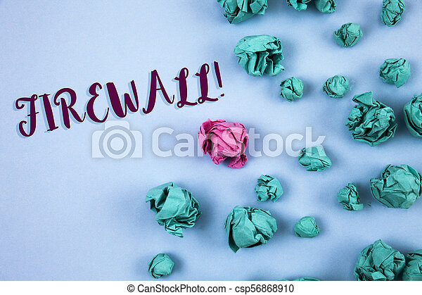 Conceptual hand writing showing Firewall Motivational Call. Business photo text Malware protection prevents internet frauds written on Plain Blue background Paper Balls next to it. - csp56868910