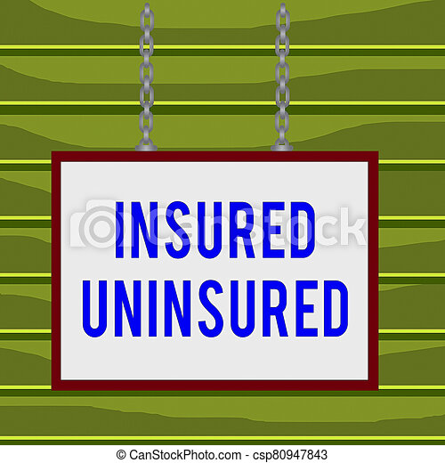 Conceptual hand writing showing Insured Uninsured. Business photo showcasing Company selling insurance Checklist to choose from Whiteboard rectangle frame attached surface chain panel. - csp80947843