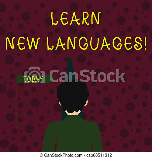 Conceptual hand writing showing Learn New Languages. Business photo showcasing developing ability to communicate in foreign lang Man Facing Distance and Blocking the View of Straight Path. - csp68511312