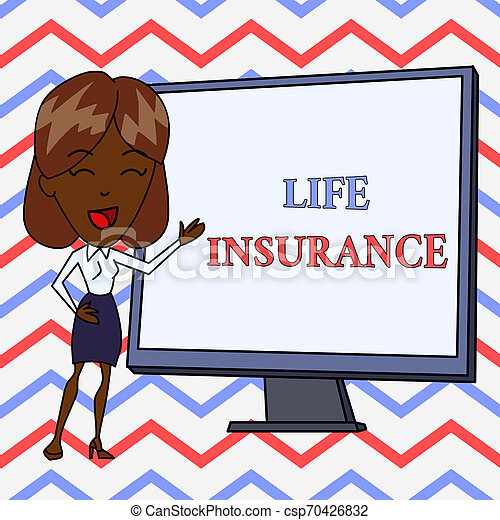 Conceptual hand writing showing Life Insurance. Business photo text Payment of death benefit or injury Burial or medical claim White Female in Standing Pointing Whiteboard Presentation. - csp70426832