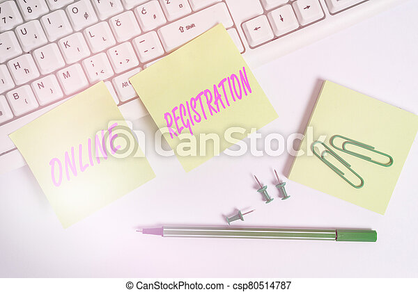 Conceptual hand writing showing Online Registration. Business photo text Process to Subscribe to Join an event club via Internet Empty note paper and paper clips with pencil on white background. - csp80514787