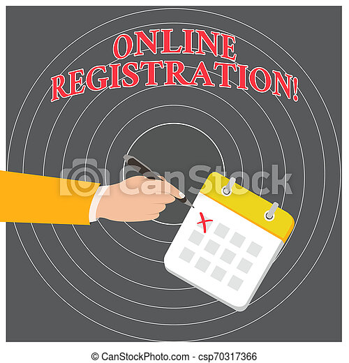 Conceptual hand writing showing Online Registration. Business photo text Process to Subscribe to Join an event club via Internet Formal Suit Crosses Off One Day Calendar Red Ink Ballpoint Pen. - csp70317366