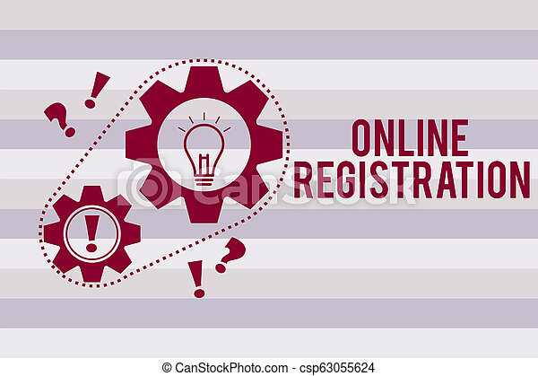 Conceptual hand writing showing Online Registration. Business photo text Process to Subscribe to Join an event club via Internet - csp63055624