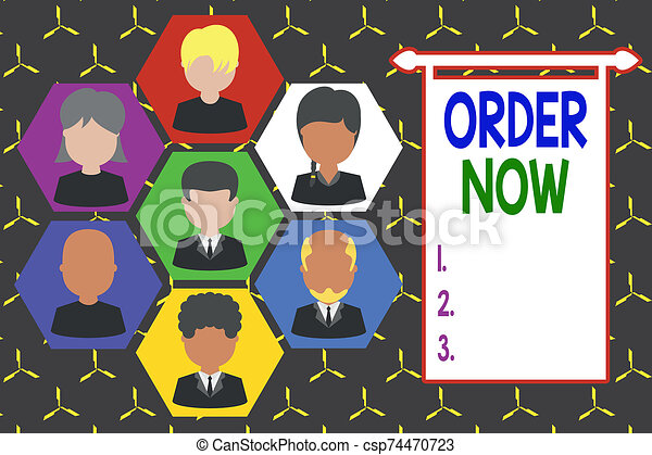 Conceptual hand writing showing Order Now. Business photo showcasing the activity of asking for goods or services from a company Picture frames CEO and staff Organization employee structure. - csp74470723