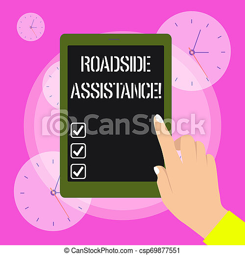 Conceptual hand writing showing Roadside Assistance. Business photo showcasing helps drivers when their vehicle breaks down on the road Female Hand with Polished Nails Pointing Tablet Screen Off. - csp69877551