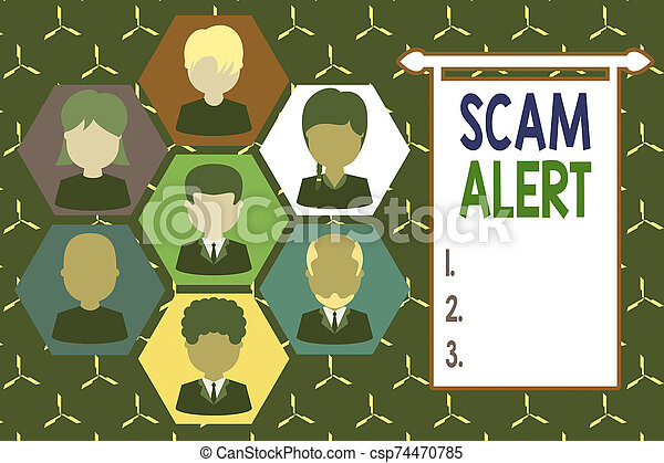 Conceptual hand writing showing Scam Alert. Business photo showcasing unsolicited email that claims the prospect of a bargain Picture frames CEO and staff Organization employee structure. - csp74470785