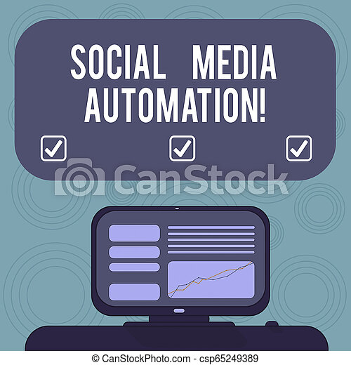 Conceptual hand writing showing Social Media Automation. Business photo showcasing Automation of posting content to social media Mounted Computer Screen with Line Graph on Desk Text Box. - csp65249389