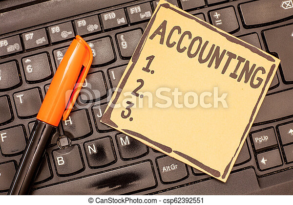 Conceptual hand writing showing Accounting. Business photo showcasing Process Work of keeping and analyzing financial accounts - csp62392551