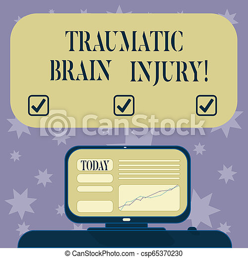 Conceptual hand writing showing Traumatic Brain Injury. Business photo text Insult to the brain from an external mechanical force Mounted Computer Screen with Line Graph on Desk Text Box. - csp65370230