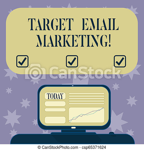 Conceptual hand writing showing Target Email Marketing. Business photo text advertisement is sent to a target list of recipients Mounted Computer Screen with Line Graph on Desk Text Box. - csp65371624