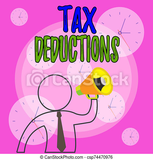 Conceptual hand writing showing Tax Deductions. Business photo showcasing reduction income that is able to be taxed of expenses Outline Symbol Man Loudspeaker Announcing Instructions. - csp74470976