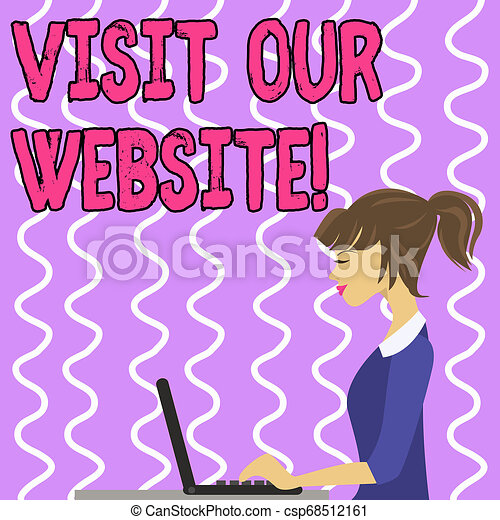 Conceptual hand writing showing Visit Our Website. Business photo text visitor who arrives at web site and proceeds to browse Strip Size Lined Paper Sheet Hanging Using Blue Clothespin. - csp68512161