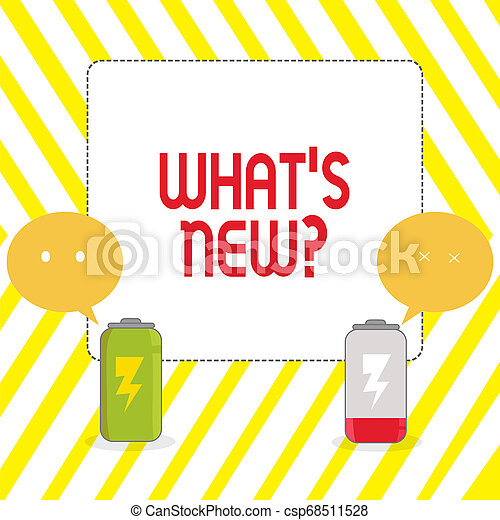 Conceptual hand writing showing What S New Question. Business photo showcasing when you ask someone about his current live events actions Fully Charge and Discharge Battery with Emoji Speech Bubble. - csp68511528