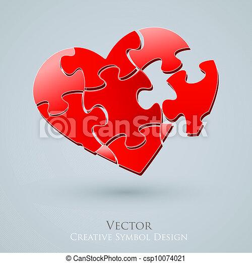 Conceptual Heart Vector Design. Creative Idea of Romantic Relationship Web Search. Love Icon - csp10074021