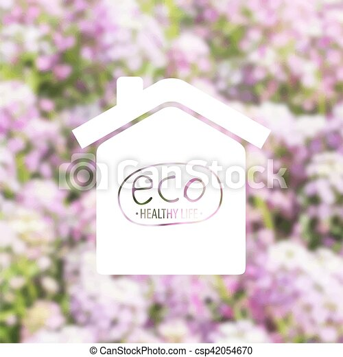 Conceptual house on garden background - csp42054670