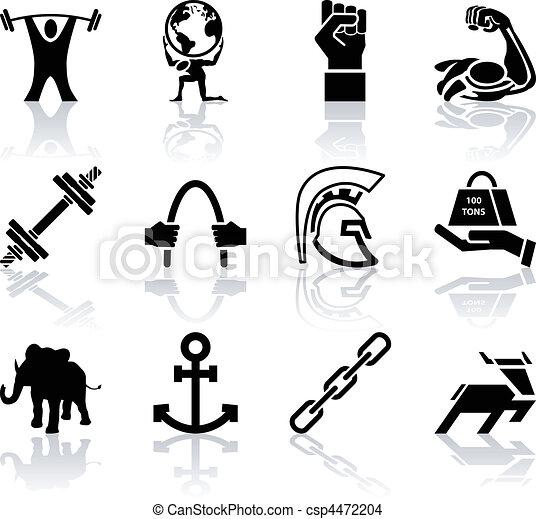 Conceptual icon set relating to strength - csp4472204