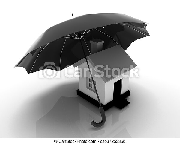 Conceptual image - house under protection. 3d image. - csp37253358